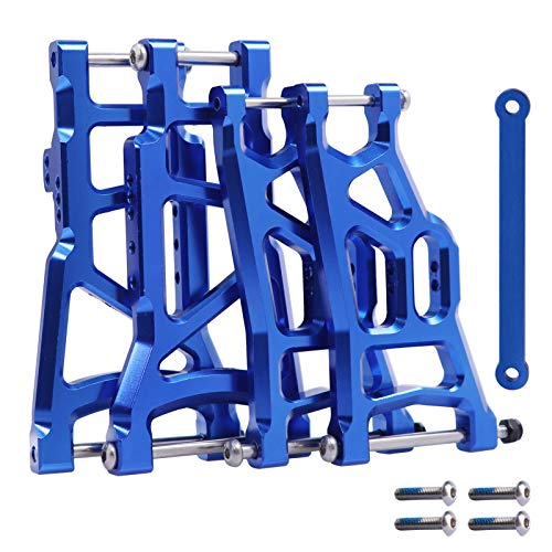 Aluminum Suspension A-Arms (Front&Rear) w/Tie Bar Upgrades for Traxxas 1/10 2WD Slash (Raptor) RC Truck, Replace 2555 3631 2532,Blue-Anodized,Set of 4