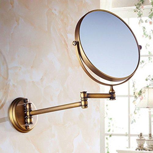HSBAIS Bad Rasierspiegel Antike europäische Badezimmer Dekoration Make up Spiegel Kreative Doppelseitig 360 Grad drehbaren Schönheits Spiegel,Bronze_8inch