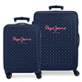 Pepe Jeans Molly Juego de maletas Multicolor 55/68 cms Rígida ABS Cierre combinación 104L 4 Ruedas dobles Equipaje de Mano