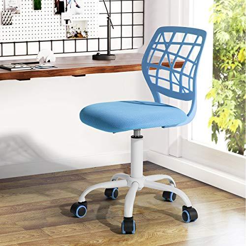 Bürostuhl Fanilife Drehstuhl Schreibtischstuhl Bürostuhl Kinder Arbeitsstuhl höhenverstellbar, gepolsterte Sitzflaeche aus Netz, Blau