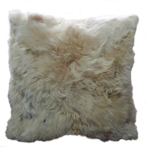 Alpacaandmore Natur Beiger Alpaka Fellkissen Bezug Kopfkissenbezug Rückseite Satin mit Reißverschluss 40x40cm oder 50x50cm (40x40 cm)