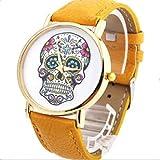 Fashion mujer Diseño de calaveras de piel sintética reloj de pulsera esfera redonda relojes amarillo