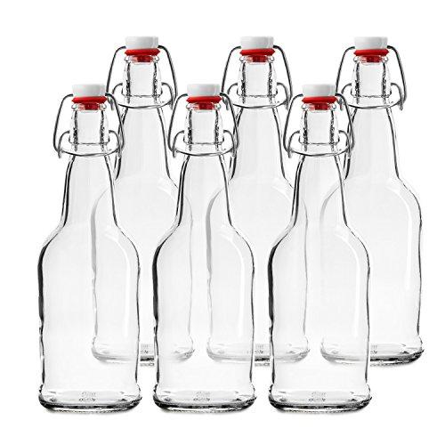 Botellas de cerveza Chef's Star de tapón fácil de abrir. Paquete de 6 botellas de 473 ml