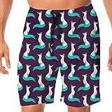 Men's Swim Trunks Snow Fox Quick Dry Beach Wear Shorts Swimwear with Pockets M