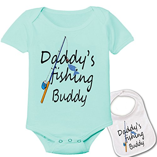 """ Daddy's fishing buddy ""-Cute Boutique Baby bodysuit onesie & matching bib"