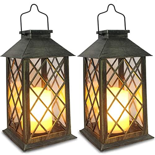 Lanternas solares lanternas suspensas LED velas tremeluzentes sem chamas luzes missionárias de bronze