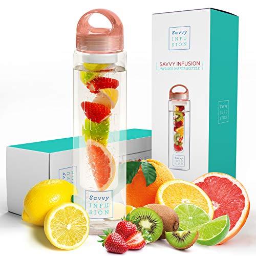 Savvy Infusion Trinkflaschen - Fruit Infuser Flasche - mit einzigartigem Leak Proof Silikon versiegelte Kappe mit Handgriff - große Geschenke für Frauen 32 Unzen Rose Gold