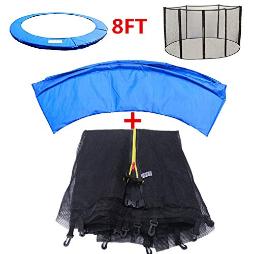 BIN 8FT Trampoline Replacement Safety Spring Cover Padding Pad Safety Net Enclosure Surround Netting for Round Frame Trampolines, No Trampoline