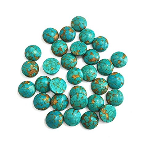 JSJJATQ Piedras de Lava Piedras Naturales Azul Turquesa Jade Piedra cabujón Retro sin Agujero Perlas para Hacer joyería Accesorios de Anillo de Bricolaje (Color : 1, Size : 8mm)