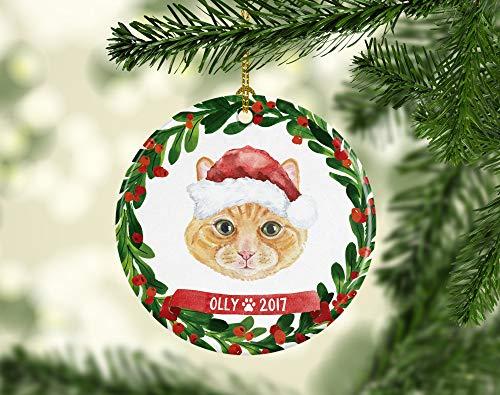 Lplpol - Ornamento decorativo in ceramica da 7,6 cm, ideale come regalo per animali domestici, gatto, ornamento di Natale, colore: arancione