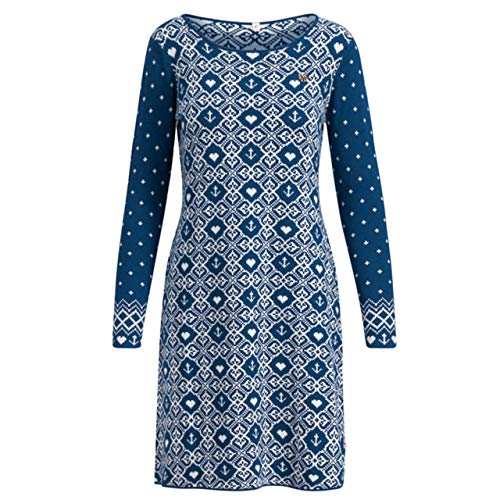 Blutsgeschwister Damen Strickkleid Saints go Marching Dress Norwegian Snowflake Petrol - L