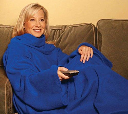PREMIUM Kuscheldecke mit praktischen Ärmeln - perfekte Wärmeisolierung (140 x 180 cm) Blau - Ärmel Decke Ärmeldecke Fleece Wärmedecke Plaid