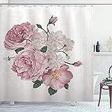 ABAKUHAUS Rose Duschvorhang, Alte Rosen Corsage Grunge, Moderner Digitaldruck mit 12 Haken auf Stoff Wasser & Bakterie Resistent, 175 x 200 cm, Beige Rose Green