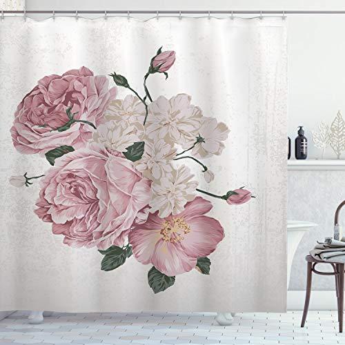 ABAKUHAUS Roos Douchegordijn, Old Roses Corsage Grunge, stoffen badkamerdecoratieset met haakjes, 175 x 220 cm, Beige Rose Green