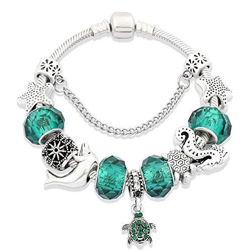 Marine armband Damesmode Alternatieve schildpad hanger Sieraden Geschikt voor Mama Gift Dark Green Crystal,18cm