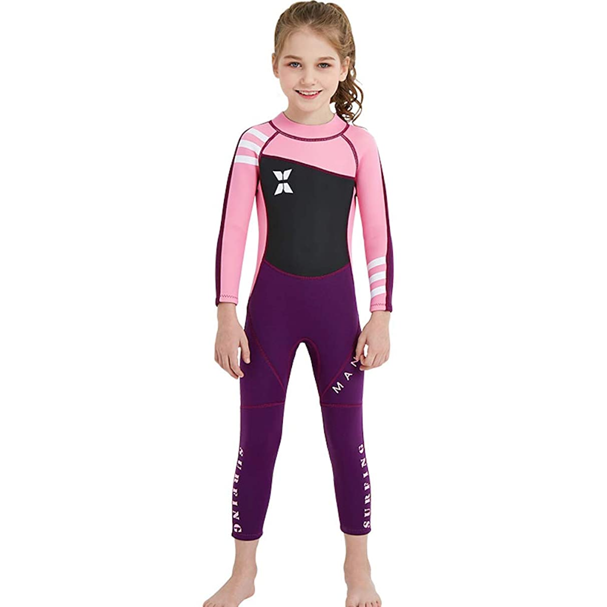 DIVE&SAIL Kids 2.5Mm Long Sleeve One Piece Full Body Wetsuit Uv Protection Thermal Swimwear Keep Warm for Scuba Diving Surfing Snorkeling Swimming Fishing for Boys Girls (Pink, Small)