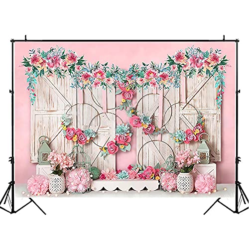 Sfondo primaverile per fotografia Foglie verdi Ghirlanda Primavera Neonato Compleanno Sfondo Vintage Porta Photo Studio A3 5x3ft 1.5x1m