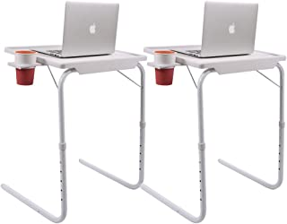 TimmyHouse 2X Folding Table Adjustable Smart Table Companion Tray Foldable Desk W/Cup Holder