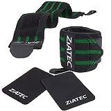 Ziatec Profi Trainings-Set Handgelenkbandagen (2er Set) + Griffpolster 3 mm (2er Set) - Bodybuilding...