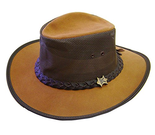 Modestone Crushable BC Hat Australian Leather/Mesh Drover Chapeaux Cowboy Brown