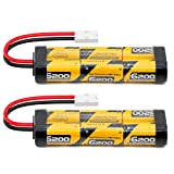 FLYLINKTECH 7.2V 6200mAh NIMH Battery Pack for RC Cars, High Capacity 6-Cell 6200mAh NiMH Flat Rechargeable Battery Pack, Replacement Hobby Battery with Tamiya Connector (2-Pack)