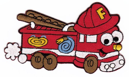 Aufnäher Bügelbild Aufbügler Iron on Patches Applikation Feuerwehr Auto Kinder Baby