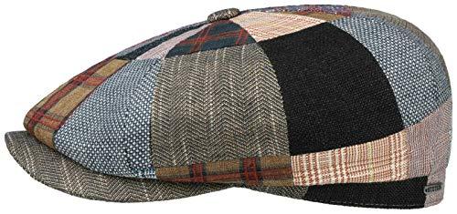 Stetson Gorra Hatteras Classic Patchwork Hombre - Made in The EU de Verano Newsboy Lino con Visera, Forro, Forro Primavera/Verano
