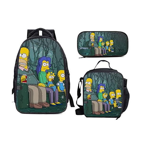 51vuqIRejqL. SS600  - The Si-mps-ons - Juego de mochila escolar con bolsas de almuerzo y estuche ligero para viaje para niños y niñas
