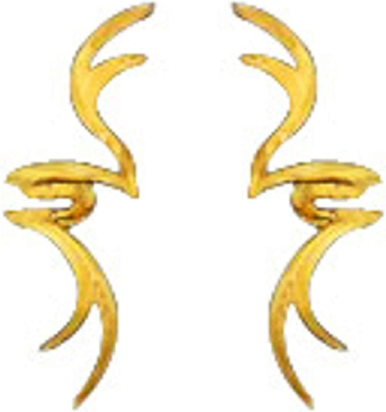 14kt Gold Vermeil Left And Right Stag Horn Tribal Design Ear Cuff Wrap Set