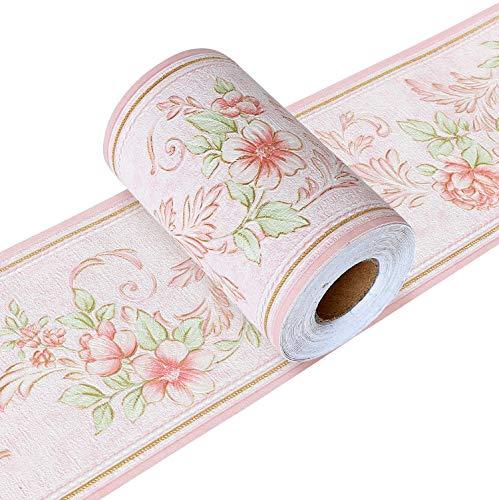 Yoillione Tapetenbordüre Selbstklebend Wandbordüre Bad Bordüre Blumen Rosa, Wasserdichte Klebe Tapete Bordüre Wand Bordüren für Wohnzimmer Badezimmer Schlafzimmer Wanddeko Stciker