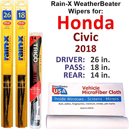 Rain-X WeatherBeater Wipers for 2018 Honda Civic Set w/Rear Rain-X WeatherBeater Conventional Blades Wipers Set Bundled with MicroFiber Interior Car Cloth