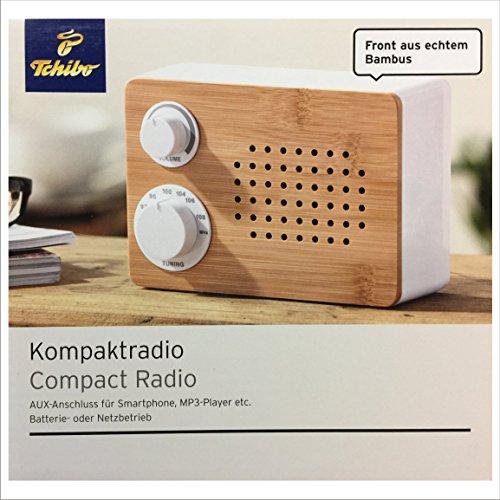 TCM Tchibo Tragbares Bambus Kompakt Radio AUX Anschluß f. MP3 3,5-mm Klinkenstecker