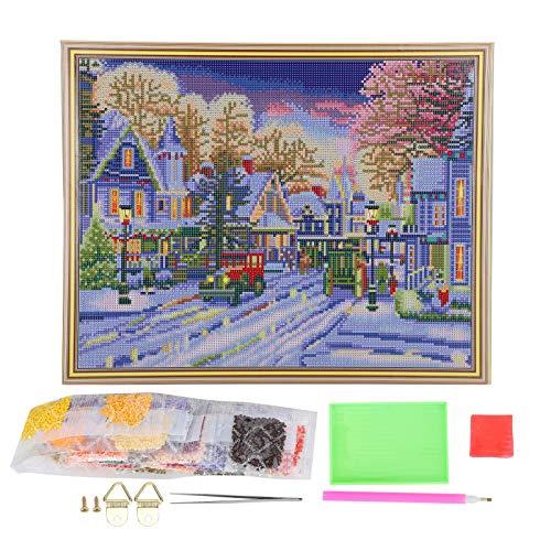 Pintura de diamante con luz LED 50 x 40 cm Cuadro de pintura de diamante con marco Pintura de diamantes de imitación para decoración de paredes, LED5004