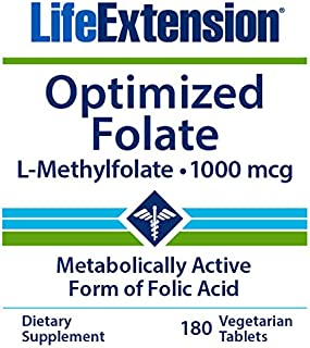 Life Extension Optimized Folate, 180 Veg Tablets, L-Methylfolate 5-MTHF 1000 mcg / 1 mg