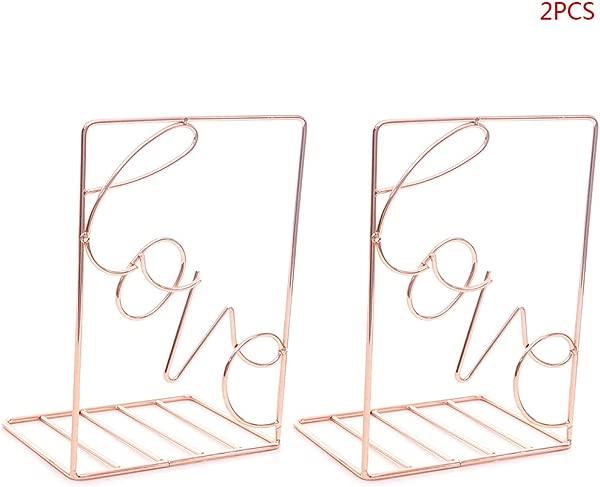 2Pcs Love Shaped Bookends Decorative Metal Book Ends Supports For Shelves Desk Storage Holder Shelf Book Organizer Stand Home Decoration