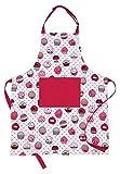 AMOUR INFINI Damen Küchenschürze Cupcake | 70 x 85 cm | 100% natürliche Baumwolle | Damenschürze zum Kochen, Backen, Gärtnern | Praktische Taschen, verstellbare Halsbänder und Taillenbänder