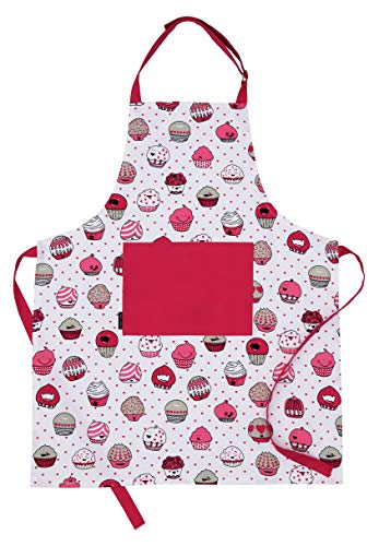 Amour Infini Cup Cakes Apron | 27.5 x 33 inches | 100% Natural Cotton | Womens Apron for Cooking, Baking, Gardening | Convenient Pockets, and Adjustable Strap at Neck & Waist Ties