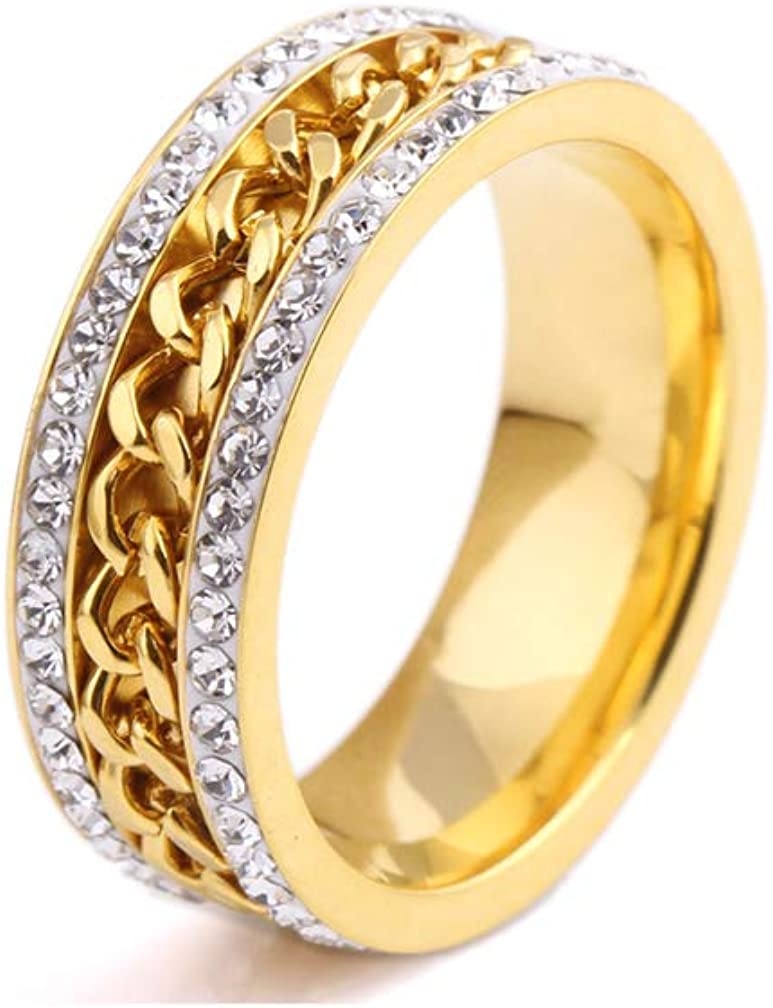 Xusamss Fashion Las Vegas Mall Plated Gold Stainless Crystal Steel Band R Chain Max 74% OFF