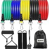 bigfox set di fasce di resistenza,bande di resistenza,elastici palestra fino a 150 lbs- 5 bande elastiche fitness,2 caviglie ancoraggio,2 gancio da porta,1anti-strappo per porta, pilates,yoga