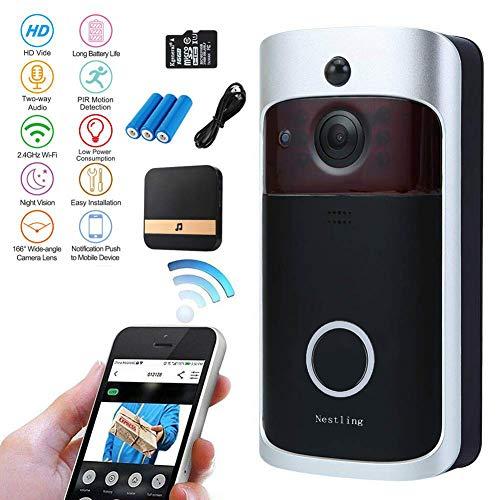 Nestling Timbre de video con Wi-Fi, timbre inteligente HD 720p Wi-Fi con cámara de vigilancia de ángulo amplio 16G 166 °. Visión nocturna, aplicación remota para iOS/Android