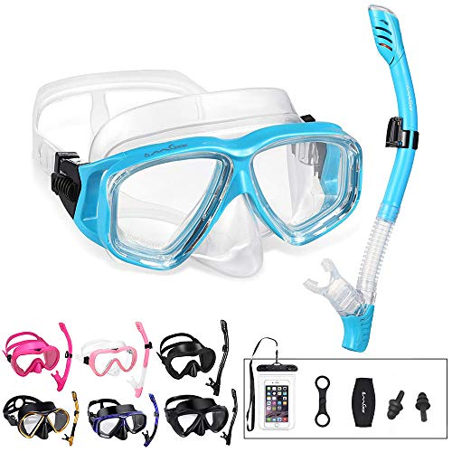 OMGear Snorkel Set Snorkeling Gear Package Diving Set Premium Silicone Dive Goggles Snorkel Equipment Goggles AntiFog AntiLeak Neoprene Strap Scuba Diving Freediving Spearfishing Swimming Aqua1