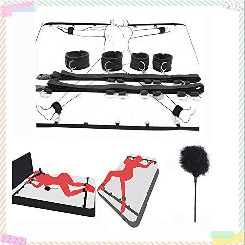 Cinturón de sujeción de pies y Manos de Yoga para Cama de Nailon, cinturón de Yoga para Cama de Anillo con Plumas Negras, Adecuado para Parejas