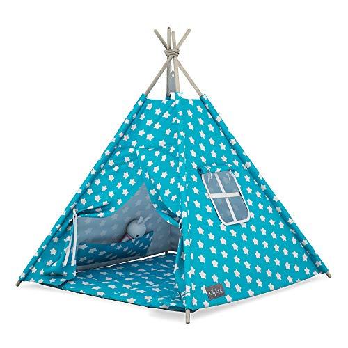 Elfique - Tienda de campaña para niños (tipo Tipi, con techo azul y estrellas blancas)