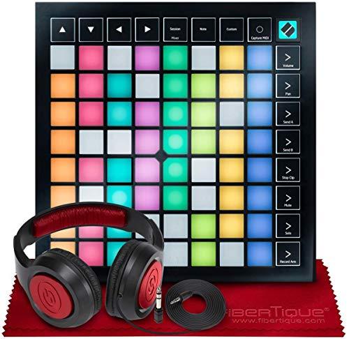 Novation Launchpad X Ableton Live 8 x 8 64 Hintergrundbeleuchtung RGB Pads Grid Controller w/Software Bundle + SR360 Over-Ear Dynamic Stereo Kopfhörer & Fibertique Mikrofaser-Reinigungstuch
