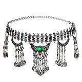Noverlife - Cinturón de metal para monedas con colgantes de media luna y cortinas de cadena, diseño de medallón de diamantes de imitación con cadena y monedas de cadena, bohemia gitana tribal