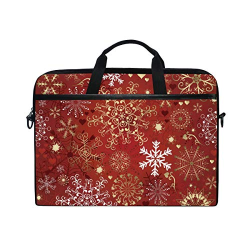 QMIN Laptop-Tasche mit weihnachtlichem Schneeflocken-Herz-Muster, Reißverschluss, Messenger-Tasche mit Schultergurt für 35,6 - 36,8 cm (14 - 14,5 Zoll) Dell HP Lenovo MacBook