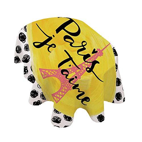 Angel Bags Mantel ovalado de la ciudad de París, diseño de la Torre Eiffel con mensaje de París I Love You, fondo de mesa de poliéster, estilo vintage, 152 x 251 cm, para comedor y cocina