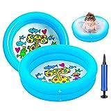 Ucradle 2er Pack Aufblasbare Planschbecken - Babypool Aufblasbares Badewanne Badespielzeug Schwimmen Pool Sommer Wasserspielzeug für Baby Kids, 65 x 16 cm 2 Ringe (Blau)