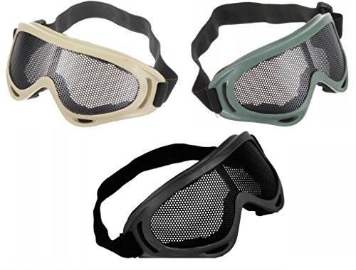 Amazona's presentz Visión ancha Anti niebla malla de alambre gafas tácticas antidisturbios tiro airsoft BB pistola protección (negro)