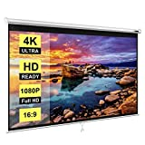 VIVOHOME 100 Inch Manual Pull Down Projector Screen, 16:9 HD Retractable Widescreen for Movie Home Theater Cinema Office Video Game